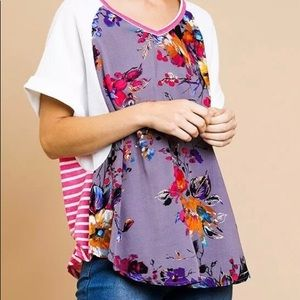 NWT Umgee Mixed Floral Stripe Top Pink Gray Large